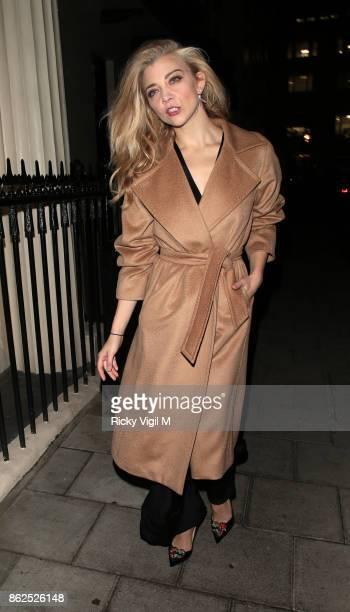 Natalie Dormer seen leaving the Theatre Royal Haymarket after her performance in 'Venus In Fur' on press night on October 17 2017 in London England