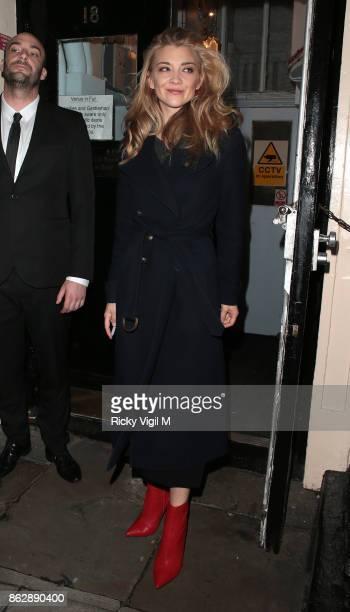 Natalie Dormer seen leaving the Theatre Royal Haymarket after her performance in 'Venus In Fur' on October 18 2017 in London England