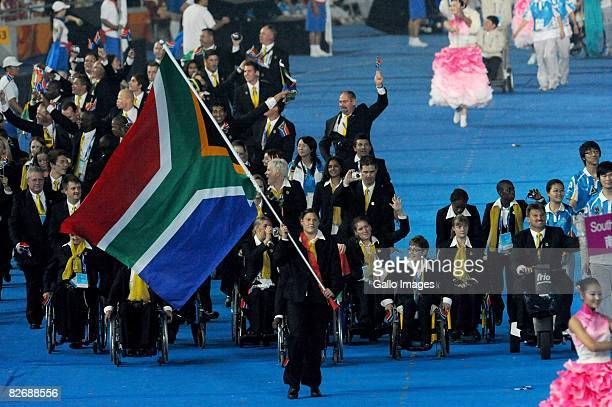 Natalie du Toit leads out the South African participants during the 2008 Beijing Paralympic Games Opening Ceremony held September 6 2008 in Beijing...