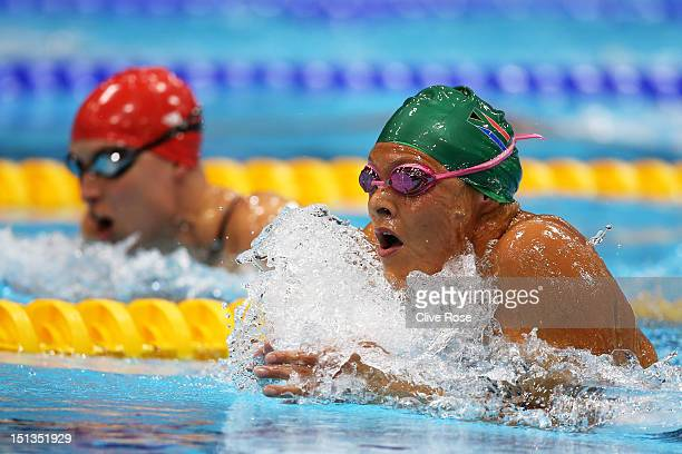 Natalie du Toit of South Africa and Stephanie Millward of Great Britain compete in the Women's 200m Individual Medley SM9 final on day 8 of the...