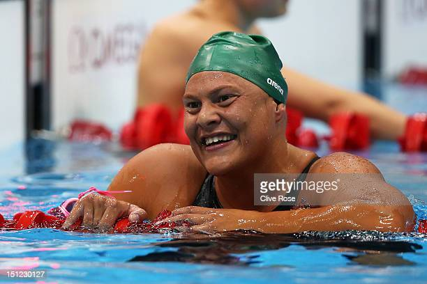 Natalie du Toit of South Africa celebrates after winning gold in the Women's 400m Freestyle S9 final on day 6 of the London 2012 Paralympic Games at...