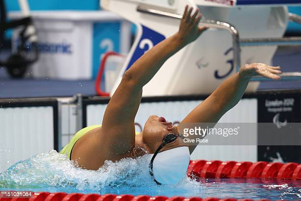 Natalie du Toit of South Africa in action during the Women's 100m Backstroke S9 heats on day 2 of the London 2012 Paralympic Games at Aquatics Centre...