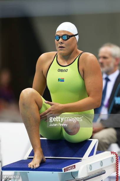 Natalie du Toit of South Africa prepares to compete in the Women's 100m Butterfly S9 final on day 1 of the London 2012 Paralympic Games at Aquatics...