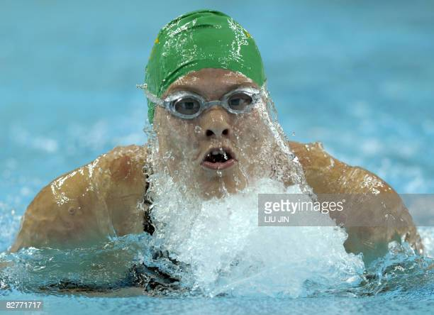 Natalie Du Toit of South Africa swims to win the women's 200m individual medley SM9 during the 2008 Beijing Paralympic Games at the National Aquatics...