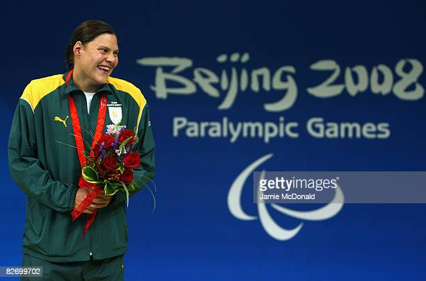 Natalie Du Toit of South Africa wins Gold in the Women's 100m Butterfly S9 at the National Aquatics Centre on September 7 2008 in Beijing China