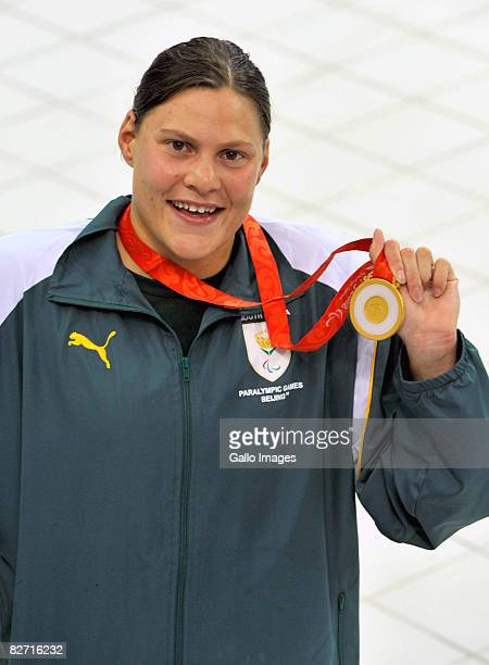Natalie du Toit of South Africa with her second Gold Medal during Day 2 of the Swimming Finals of the 2008 Beijing Paralympic Games on September...