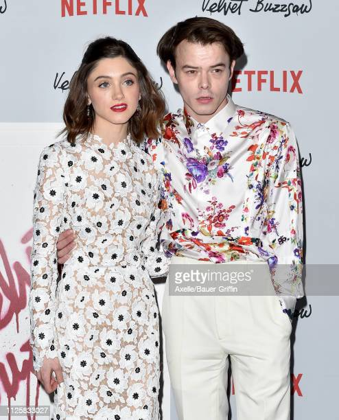 Natalie Dyer and Charlie Heaton arrive at the Los Angeles premiere screening of 'Velvet Buzzsaw' at American Cinematheque's Egyptian Theatre on...