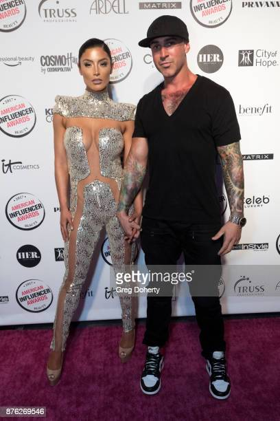 Natalie Eva Marie and Jonathan Coyle attend the American Influencer Award at The Novo by Microsoft on November 18 2017 in Los Angeles California