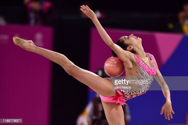 Natalie Garcia of Canada performs during the Rhythmic Gymnastics - Individual All Around on Day 7 of Lima 2019 Pan American Games at Villa El...