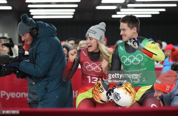 Natalie Geisenberger and Johannes Ludwig of Germany celebrate as their team wins the Luge Team Relay at Olympic Sliding Centre on February 15, 2018...
