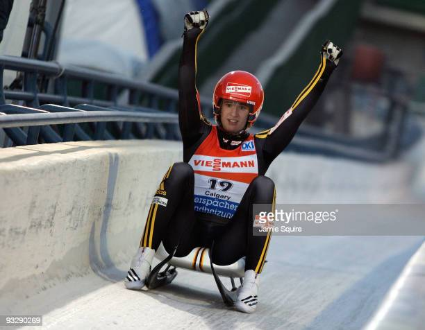 Natalie Geisenberger of Germany celebrates after coming across the finish line to win silver in the World Cup Women's event during the Viessmann Luge...
