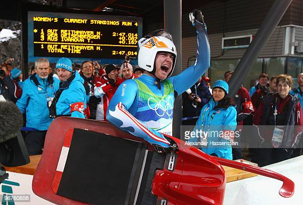 Natalie Geisenberger of Germany celebrates after competing in the Luge Women's Singles on day 5 of the 2010 Winter Olympics at Whistler Sliding...