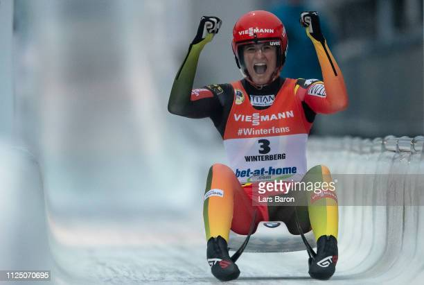 Natalie Geisenberger of Germany celebrates after the final run of the Luge World Championships Women Race at Veltins EisArena on January 26 2019 in...