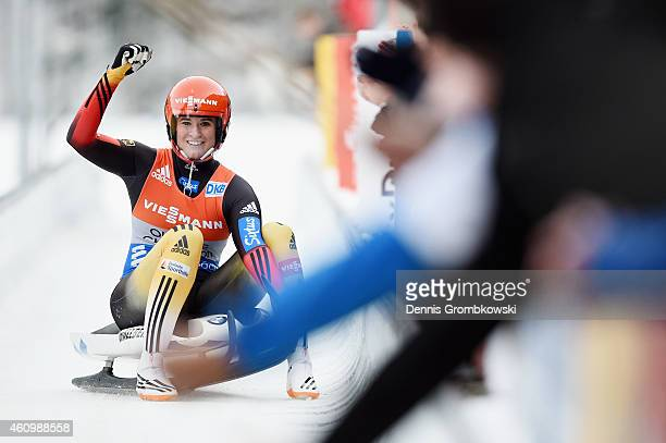 Natalie Geisenberger of Germany celebrates as she wins the Women's FIL Luge World Cup Koenigssee at Deutsche Post Eisarena on January 3 2015 in...