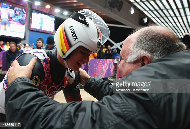 Natalie Geisenberger of Germany celebrates winning gold medal with her father Helmut Geisenberger after the Women's Luge Singles on Day 4 of the...