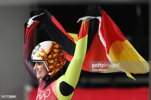 Natalie Geisenberger of Germany celebrates winning the gold medal during the Luge Women's Singles on day four of the PyeongChang 2018 Winter Olympic...