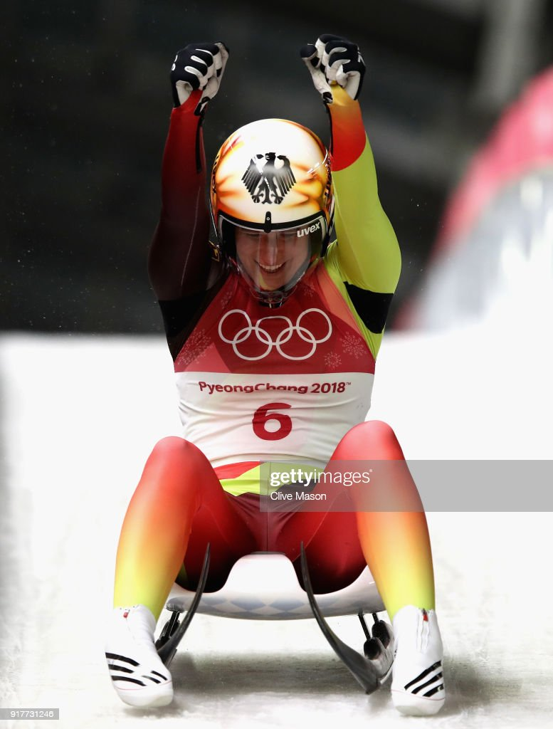 Natalie Geisenberger of Germany celebrates winning the gold medal during the Luge Women's Singles on day four of the PyeongChang 2018 Winter Olympic Games at Olympic Sliding Centre on February 13, 2018 in Pyeongchang-gun, South Korea.