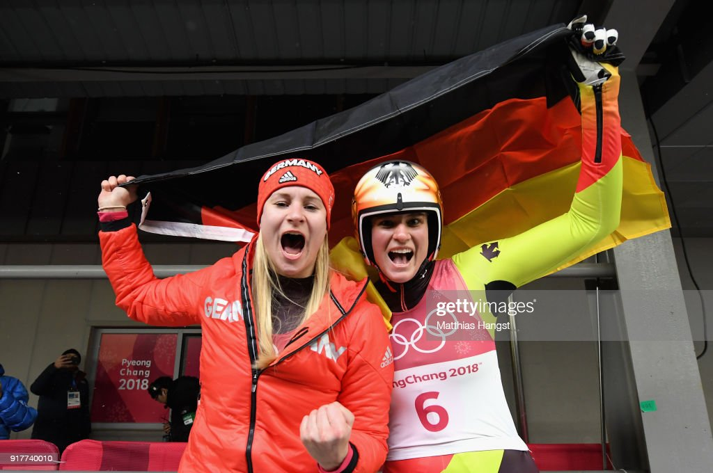 Natalie Geisenberger (R) of Germany celebrates winning the gold medal with silver medalist Dajana Eitberger (L) of Germany during the Luge Women's Singles on day four of the PyeongChang 2018 Winter Olympic Games at Olympic Sliding Centre on February 13, 2018 in Pyeongchang-gun, South Korea.