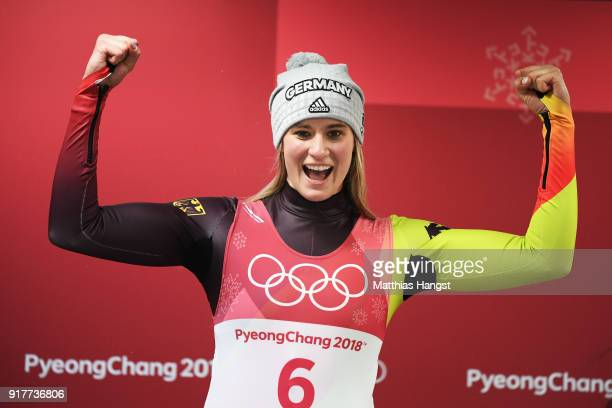 Natalie Geisenberger of Germany celebrates winning the Luge Women's Singles on day four of the PyeongChang 2018 Winter Olympic Games at Olympic...