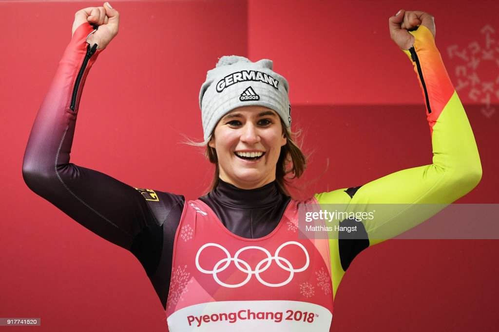 Natalie Geisenberger of Germany celebrates winning the Luge Women's Singles on day four of the PyeongChang 2018 Winter Olympic Games at Olympic Sliding Centre on February 13, 2018 in Pyeongchang-gun, South Korea.