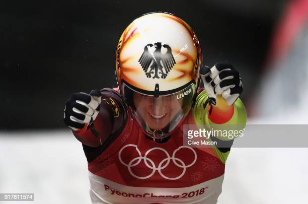 Natalie Geisenberger of Germany celebrates winning the Luge Women's Singles during Women's Singles Luge on day four of the PyeongChang 2018 Winter...