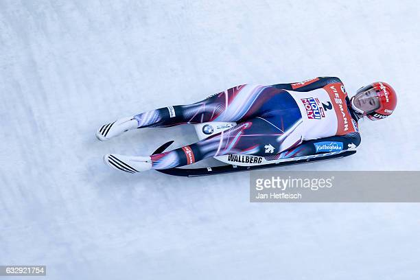 Natalie Geisenberger of Germany competes in the first heat of the Women's Luge competition during the second day of the FILWorld Championships at...