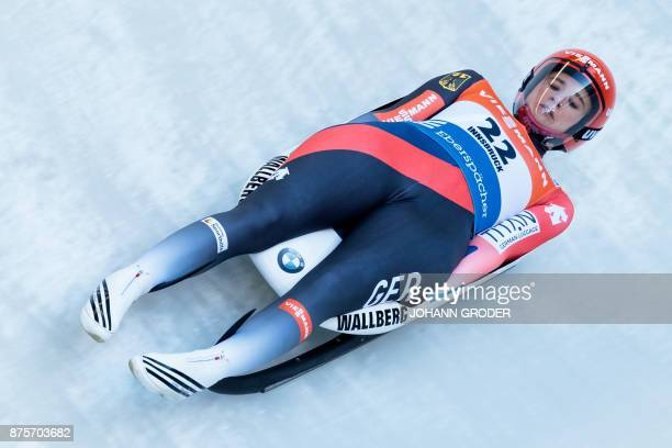 Natalie Geisenberger of Germany competes to win the ladies single seater competition of Viessmann Luge World Cup at the Olympia Eisbahn in Igls...