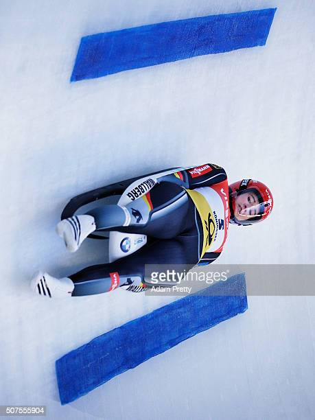 Natalie Geisenberger of Germany completes her first run of the Women's Luge competition at Deutsche Post Eisarena Koenigssee on January 30 2016 in...