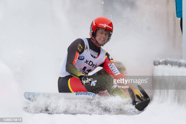 Natalie Geisenberger of Germany completes the sprint women's competition of the FIL World Cup at Veltins Eis-Arena on January 25, 2019 in Winterberg,...