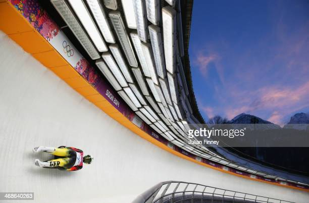 Natalie Geisenberger of Germany in action during run 3 in the Women's Luge Singles on Day 4 of the Sochi 2014 Winter Olympics at Sliding Center Sanki...