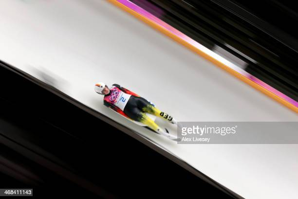 Natalie Geisenberger of Germany in action during the second run of the Women's Luge Singles on Day 3 of the Sochi 2014 Winter Olympics at Sliding...