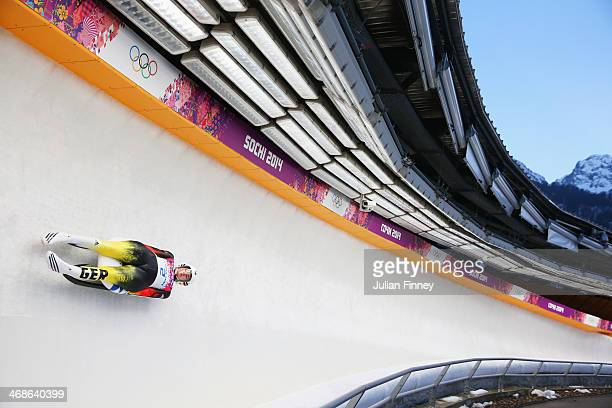 Natalie Geisenberger of Germany in action during the Women's Luge Singles on Day 4 of the Sochi 2014 Winter Olympics at Sliding Center Sanki on...