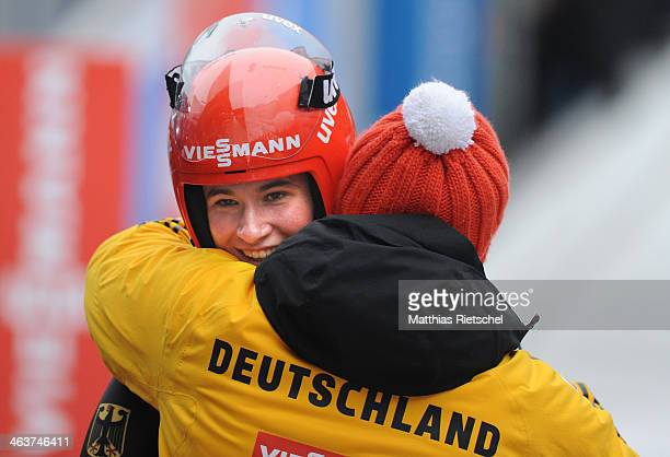 Natalie Geisenberger of Germany is congratulated by Georg Hackl after she won the FIL Viessmann Luge World Cup Women competition at DKB Eiskanal...