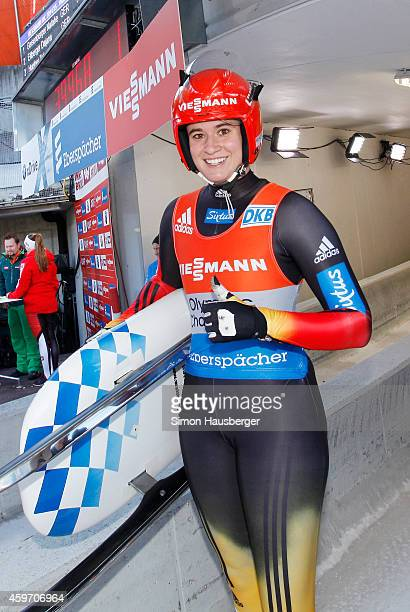Natalie Geisenberger of Germany poses after claiming Victory at the Viessmann Luge World Cup at Olympiabobbahn Igls on November 29 2014 in Innsbruck...