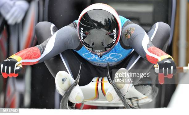 Natalie Geisenberger of Germany prepares for her run in the women's group A second run training sessions at the Whistler sliding centre on February...