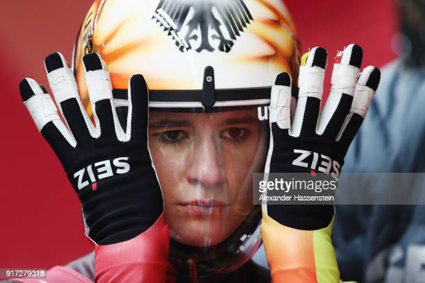 Natalie Geisenberger of Germany prepares to slide during the Women's Singles Luge run 1 at Olympic Sliding Centre on February 12 2018 in...