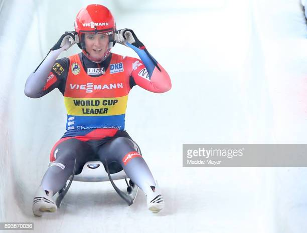 Natalie Geisenberger of Germany reacts after completing her second run in the Women's competition of the Viessmann FIL Luge World Cup at Lake Placid...