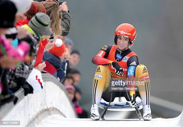 Natalie Geisenberger of Germany reacts after winning the FIL Viessmann Luge World Cup Women competition at DKB Eiskanal Rennschlitten und Bobbahn...