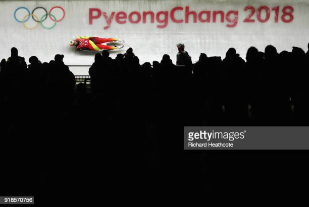 Natalie Geisenberger of Germany slides during the Luge Team Relay on day six of the PyeongChang 2018 Winter Olympic Games at Olympic Sliding Centre...