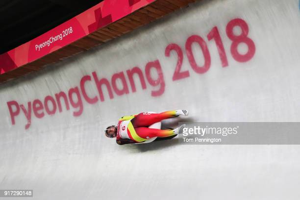 Natalie Geisenberger of Germany slides during the Women's Singles Luge run 1 at Olympic Sliding Centre on February 12 2018 in Pyeongchanggun South...