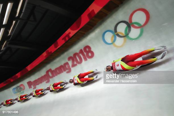Natalie Geisenberger of Germany slides during the Women's Singles Luge run 2 at Olympic Sliding Centre on February 12, 2018 in Pyeongchang-gun, South...