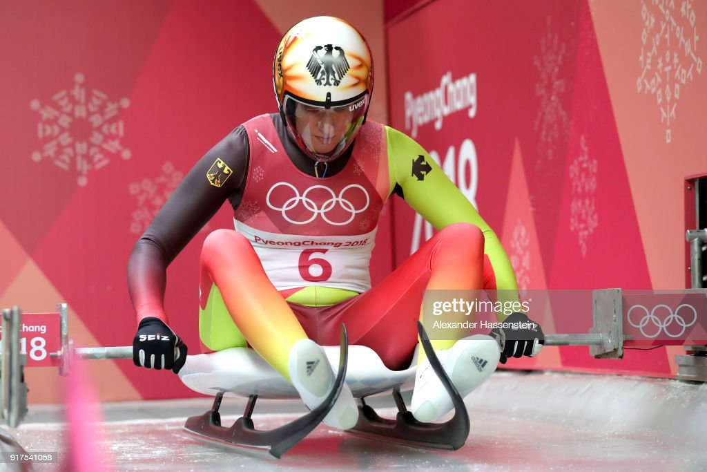 Natalie Geisenberger of Germany slides during the Women's Singles Luge run 1 at Olympic Sliding Centre on February 12, 2018 in Pyeongchang-gun, South Korea.