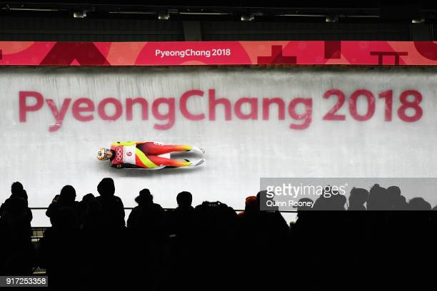 Natalie Geisenberger of Germany slides in the Women's Singles Luge run 1 at Olympic Sliding Centre on February 12 2018 in Pyeongchanggun South Korea