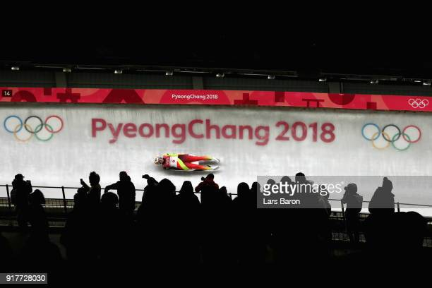 Natalie Geisenberger of Germany slides on her way to winning the gold medal during the Luge Women's Singles on day four of the PyeongChang 2018...