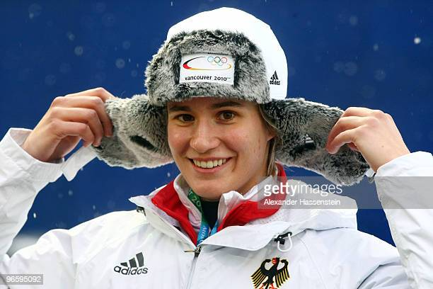 Natalie Geisenberger of Germany smiles ahead of the Women's Singles Luge training run at the Whistler Sliding Centre ahead of the Vancouver 2010...
