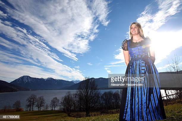 Natalie Geisenberger pose during a photocall in front of the Tegernsee on January 6 2014 in Miesbach Germany