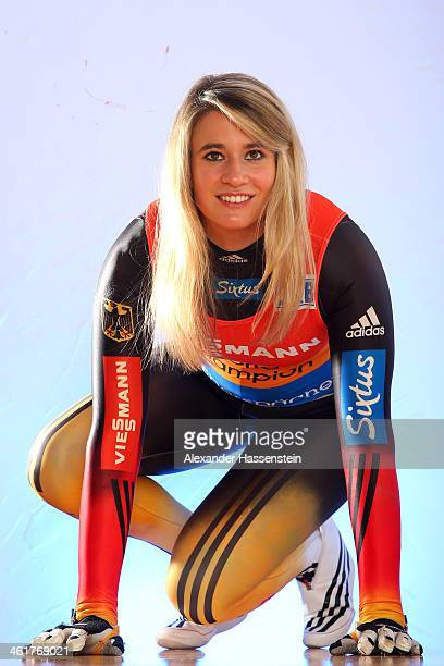 Natalie Geisenberger pose during a photocall on January 6 2014 in Miesbach Germany