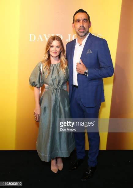 Natalie Goodes and Adam Goodes attend the David Jones Luxury Beauty and Designer Accessories Floor Launch at David Jones Elizabeth Street Store on...