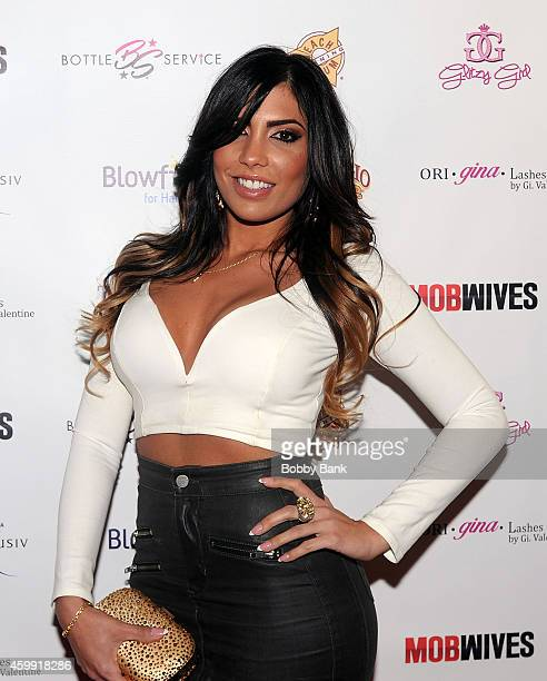 Natalie Guercio of Mob Wives attends Mob Wives Season Five Viewing Party at Drunken Monkey on December 3 2014 in New York City