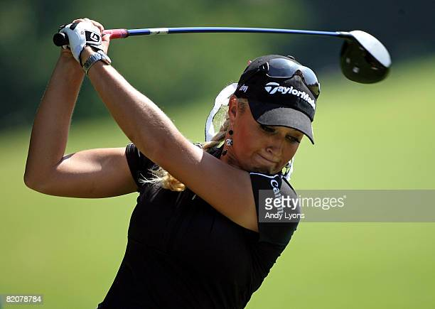Natalie Gulbis hits a tee shot on the practice range before the start of her final round of the Evian Masters on July 27 2008 at the Evian Golf Club...